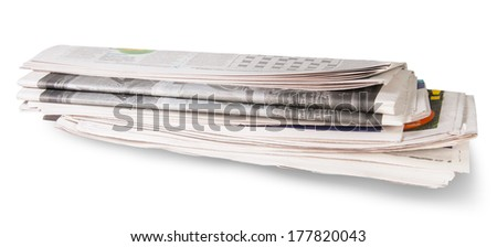 Rolled Of The Newspaper Isolated On White Background - stock photo