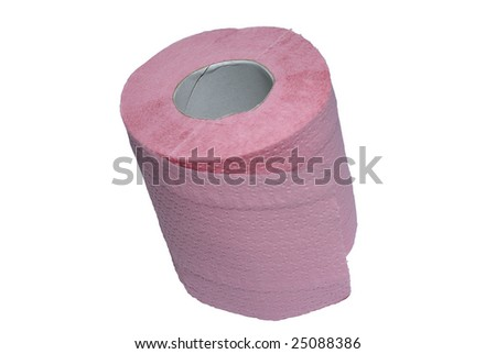 Rolled pink toilet paper isolated on white background. Clipping path. - stock photo