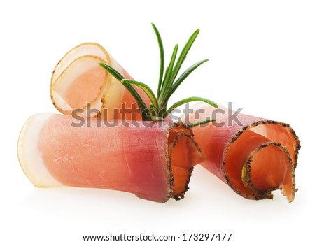 Rolled slices of ham - stock photo
