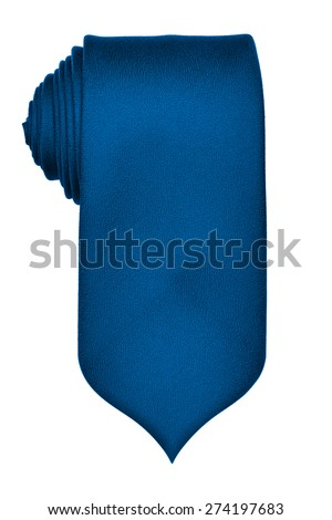 Rolled up blue tie isolated on white background - stock photo