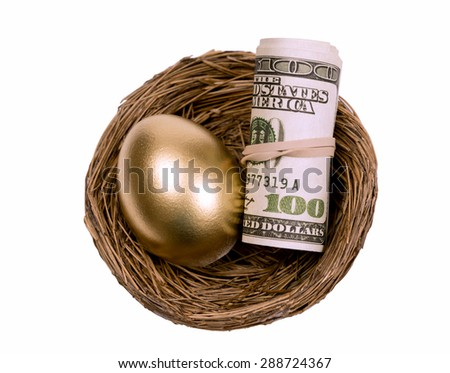 Rolled up money and golden egg resting in nest/ Saving Up Your Nest Egg - stock photo