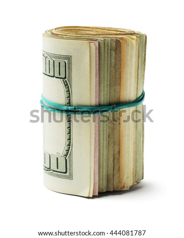 Rolled up Old US Dollar Bills on White Background - stock photo