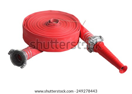 Rolled up red fire fighting hose with coupler and nozzle, Isolated on white background. - stock photo