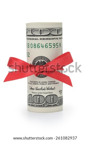 rolled wad of dollars tied with ribbon bow - stock photo