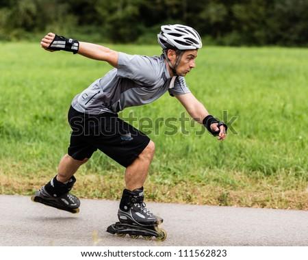 roller blading - stock photo