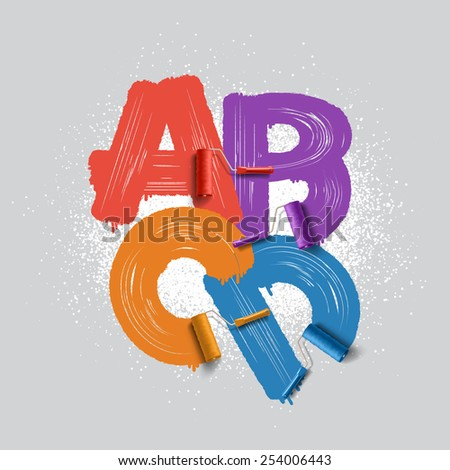 roller brush alphabet font  - stock photo