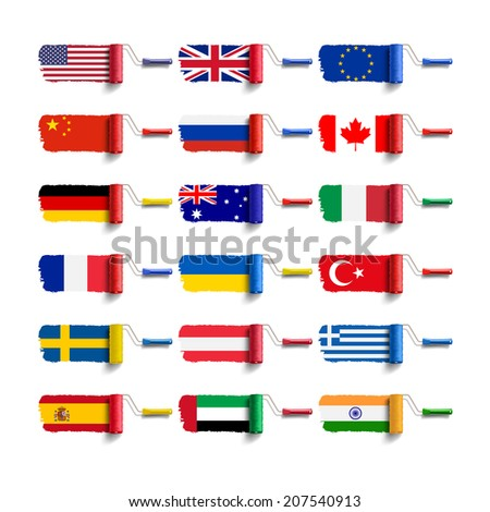 roller brush with flag - stock photo