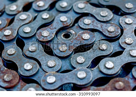 Roller chain close-up - stock photo