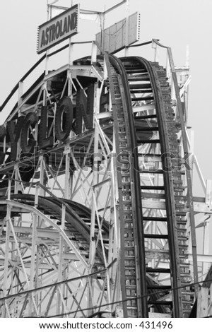 Roller coaster at Coney Island in black and white - stock photo