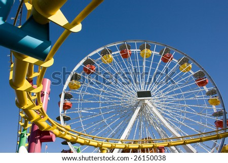 Roller Coaster in some amusement park in California, USA - stock photo