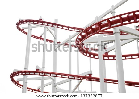Roller Coaster Track  on white. - stock photo