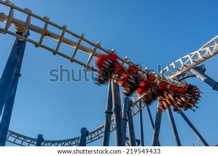Roller coaster under blue sky in Luna Park Tel Aviv, Israel.  - stock photo