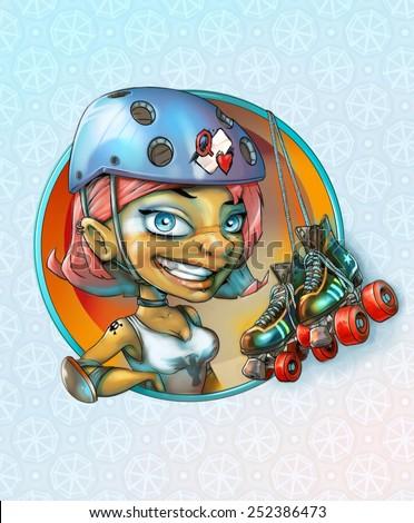 Roller derby girl - stock photo