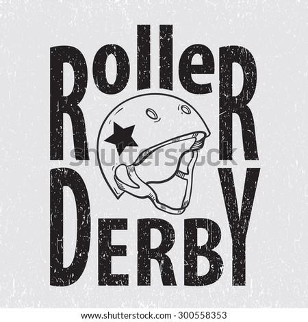 Roller derby helmet typography, t-shirt graphics - stock photo