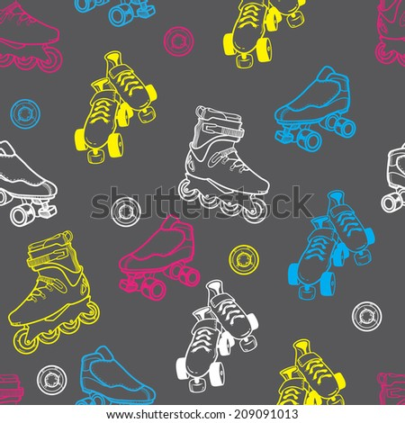 roller skate seamless pattern - stock photo