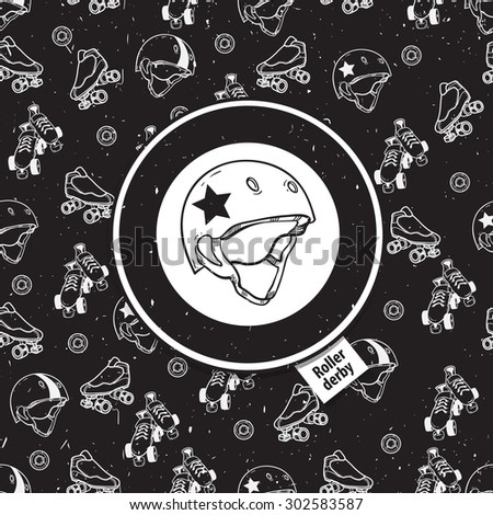 roller skate seamless pattern with roller derby icon - stock photo