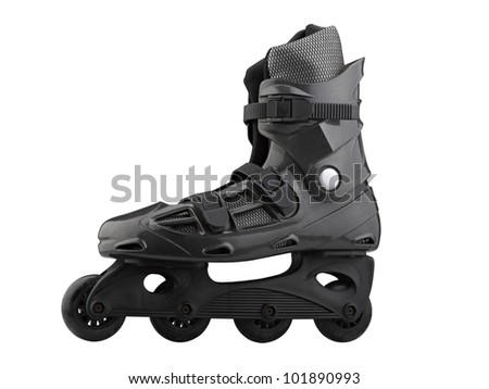 Roller Skates Black and grey isolated on white ( clipping path ) - stock photo