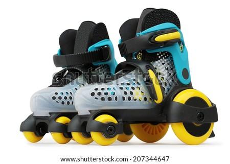 roller skates isolated on white - stock photo