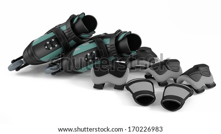 Roller skates with equipment isolated - stock photo
