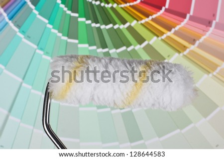 Roller with colors guide - stock photo