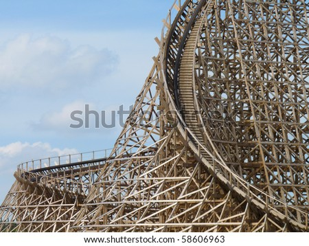 Rollercoaster Troy (Toverland Sevenum, the Netherlands) - stock photo