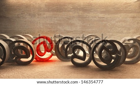 Rolling email signs with one in focus - stock photo