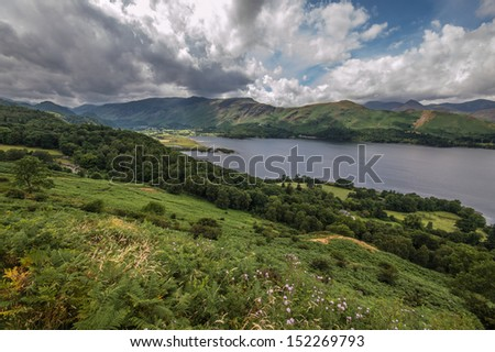 Rolling Green Hills and Lake - stock photo
