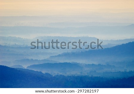 Rolling Hills at Sunrise at Shenandoah National Park - stock photo