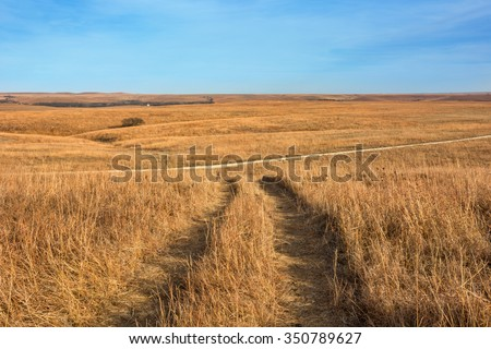 Rolling hills of the Tallgrass Prairie National Preserve near Strong City, KS. - stock photo