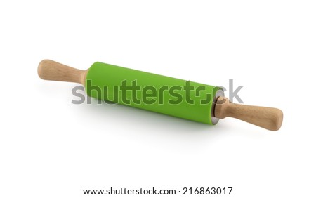 Rolling pin with silicone coated isolated on white background - stock photo
