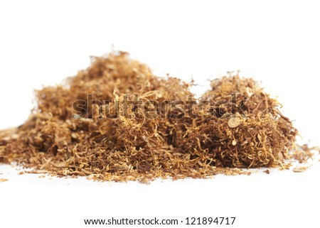 Rolling snuff scattered on a white background - stock photo