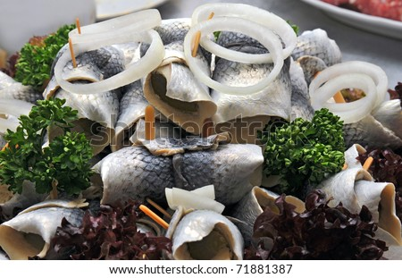 rollmop on a cold buffet - stock photo
