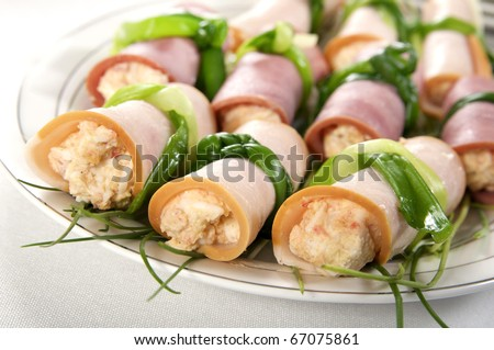 Rolls filed with cheese - stock photo