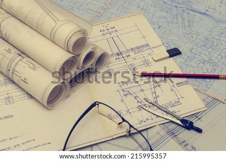 rolls of blueprints - stock photo
