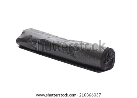 Rolls of disposable trash bags isolated over white background  - stock photo