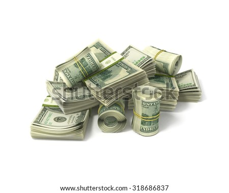 rolls of dollars and stacks of bills isolated on white - stock photo