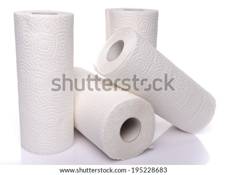 Rolls of paper towels, isolated on white - stock photo