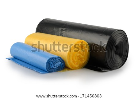 Rolls of plastic garbage bags isolated on white  - stock photo