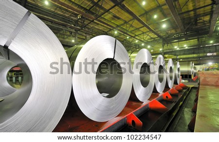 rolls of steel sheet, Cold rolled steel coils - stock photo