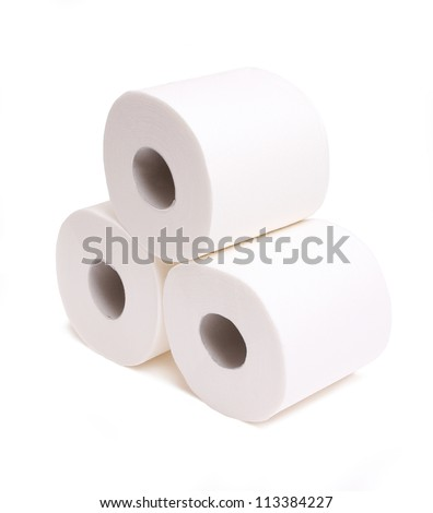 rolls of toilet paper isolated on white - stock photo