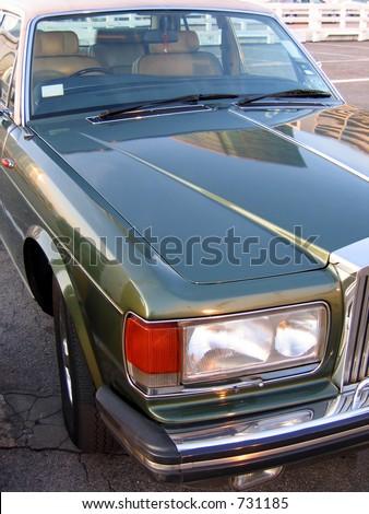 Rolls Royce headlight - stock photo
