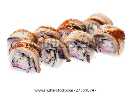 Rolls with eel, snow crab, cream cheese and cucumber isolated on white background - stock photo