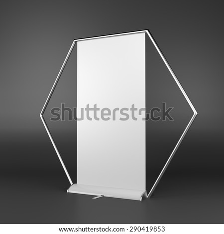 rollup or banner on dark background - stock photo