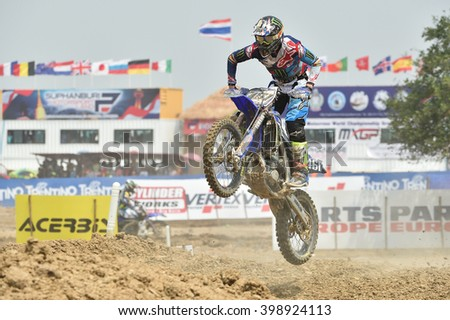 Romain Febvre No.461 Team Monster Energy Yamaha in competes during Race1 MXGP class the FIM Motocross Wolrd Championship Grand Prix of Thailand on March 06,2016 in Thailand. - stock photo