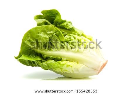 romaine lettuce standing isolated on white - stock photo