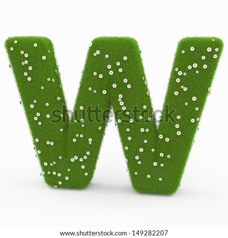 Roman alphabet of green and daisies W - stock photo