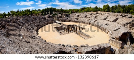 Roman Amphitheater ruin Italica. Province Seville, Andalusia. Spain - stock photo