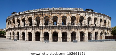 Roman Arena of Nimes, France. - stock photo