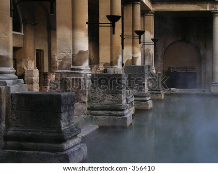 Roman Baths in England - stock photo