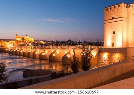 Roman Bridge and Guadalquivir river, Great Mosque, Cordoba, Spain - stock photo